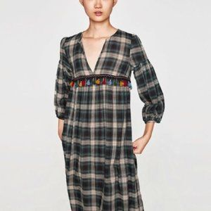 ZARA Green Plaid Multicolor Tassel V Neck Dress M